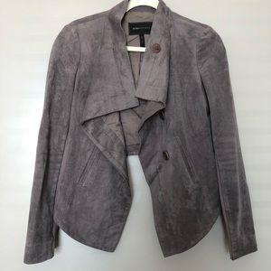 BCBGMaxazria high low cropped jacket suede XS